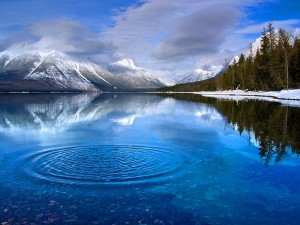 Ripples Lake Clouds Mountains Mist Trees Shore Free Wallpapers
